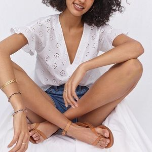 Madewell White Eyelet Sundrift Ruffle Pleated Top